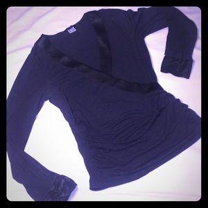Venus wrap blouse with faux leather trim